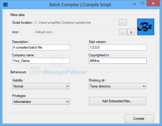 screenshot of Batch Compiler