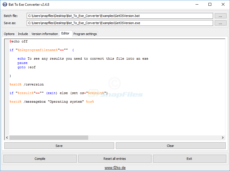 screenshot of Bat To Exe Converter