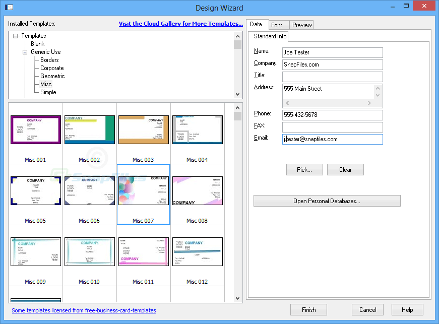 screenshot of Business Card Designer Plus