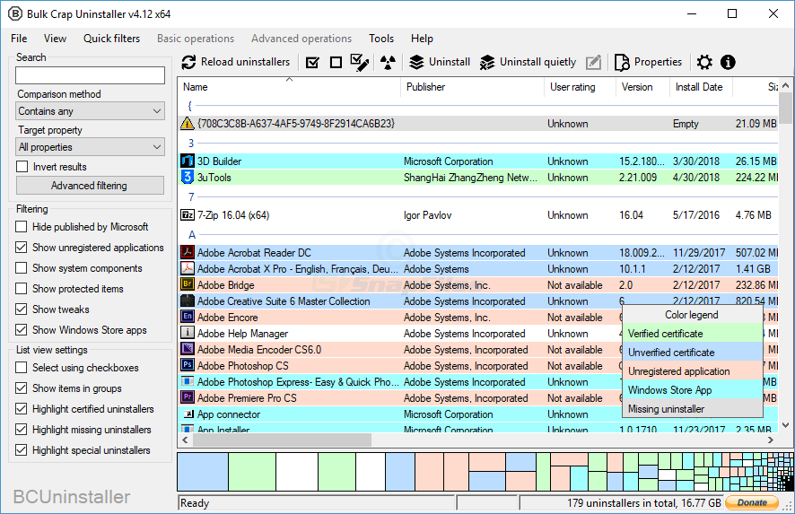 screen capture of BCUninstaller