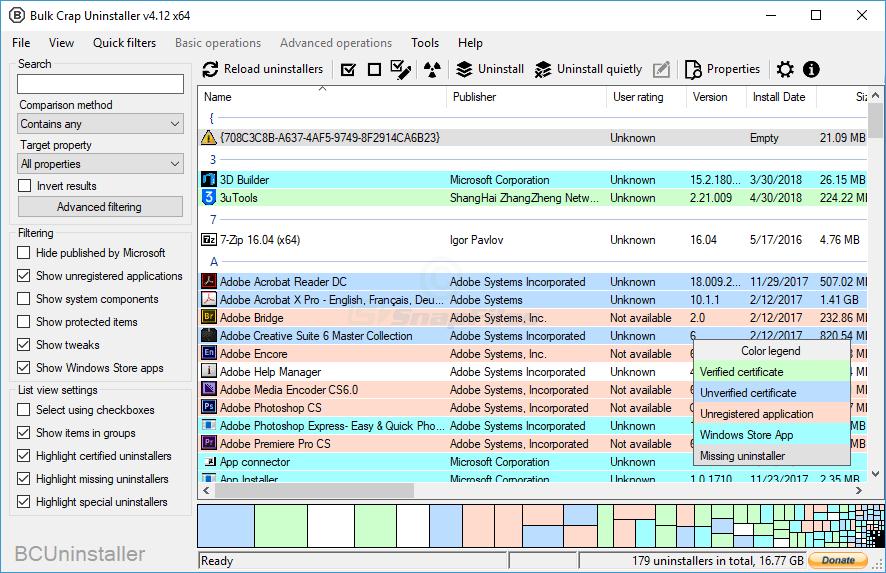 screen capture of BCUninstaller