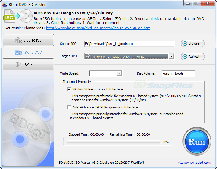 screenshot of BDlot DVD ISO Master