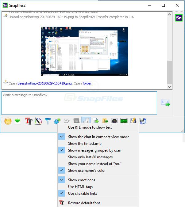 screenshot of BeeBEEP