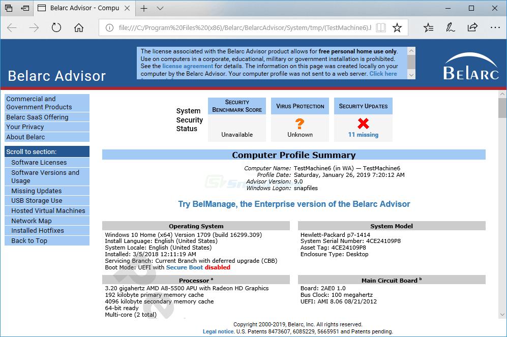 screen capture of Belarc Advisor