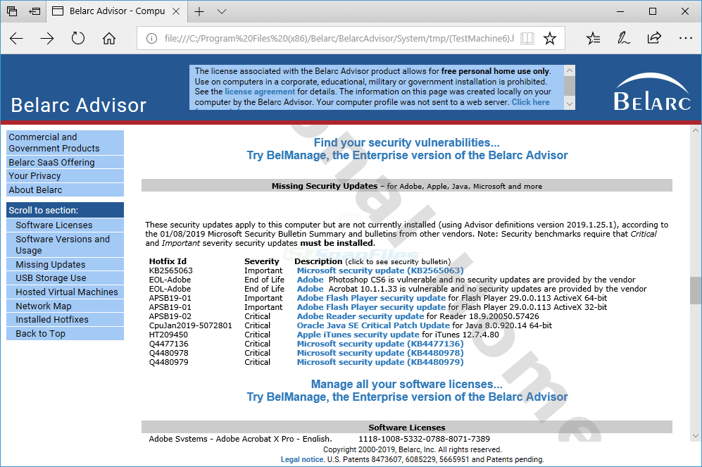 screenshot of Belarc Advisor