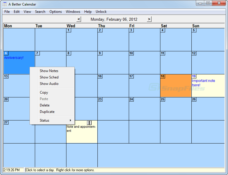screen capture of A Better Calendar