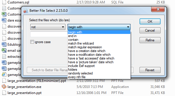 screen capture of Better File Select