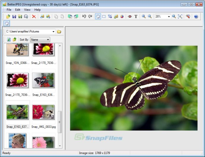 screen capture of BetterJPEG