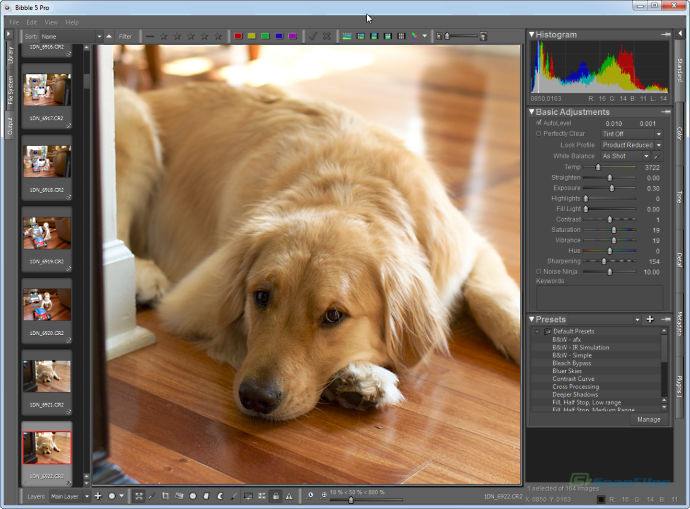 screen capture of Corel AfterShot Pro