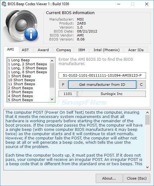 screen capture of BIOS Beepcodes Viewer