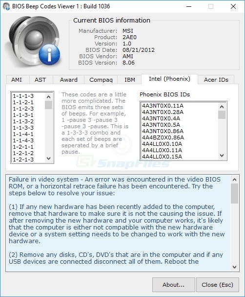 screenshot of BIOS Beepcodes Viewer