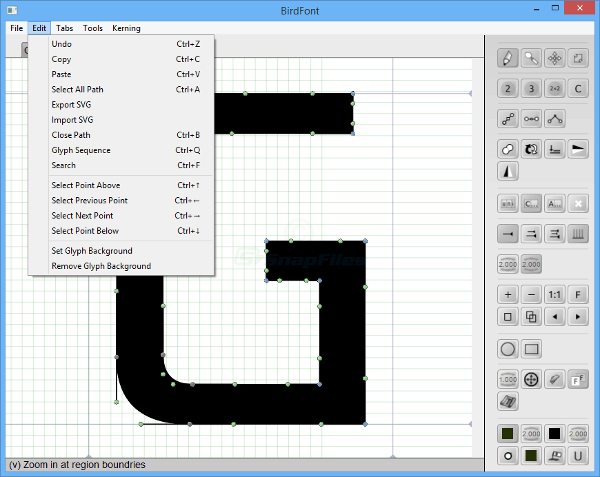 screenshot of BirdFont