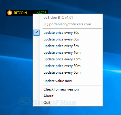 screenshot of BITCOIN ticker