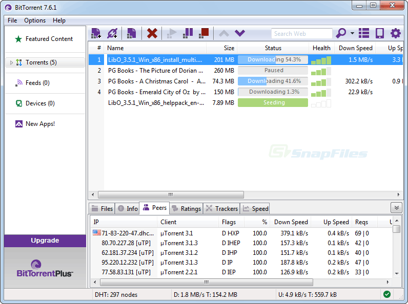 screen capture of BitTorrent Free