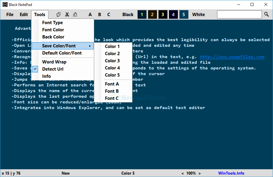 screenshot of Black NotePad
