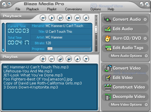 screen capture of Blaze Media Pro