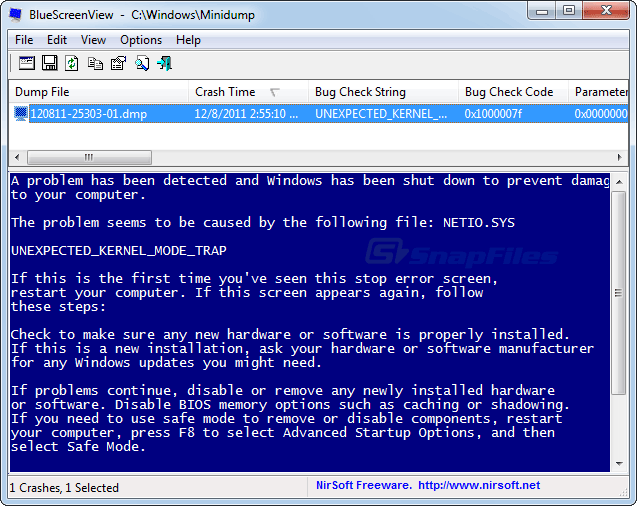 screenshot of BlueScreenView