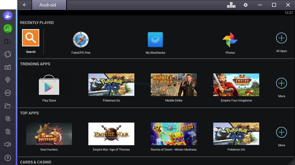 screen capture of BlueStacks