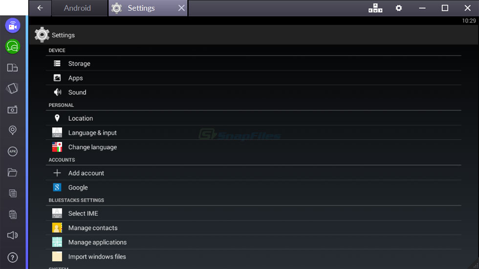 screenshot of BlueStacks