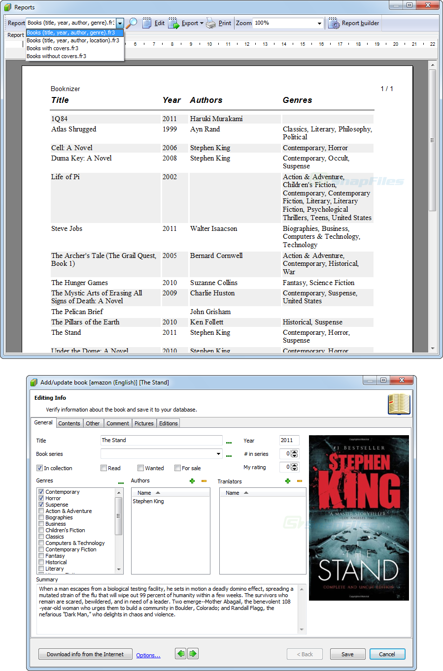 screenshot of Booknizer