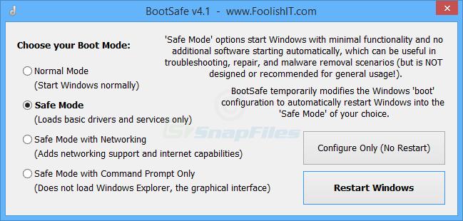 screen capture of BootSafe