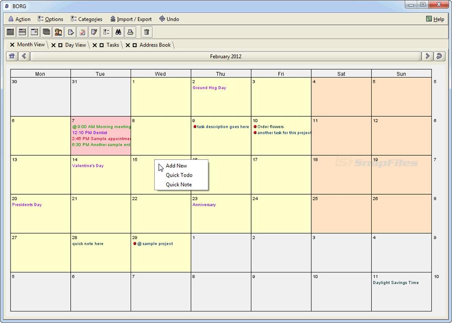 BORG (Berger-Organizer) screenshot and download at SnapFiles com