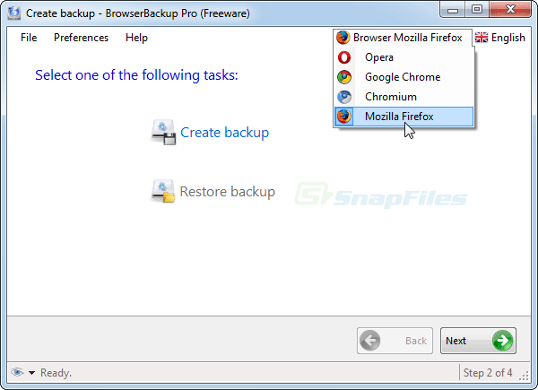 screen capture of BrowserBackup Pro