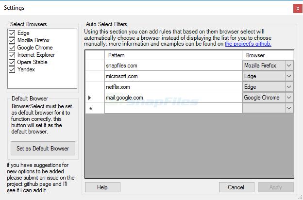screenshot of BrowserSelect