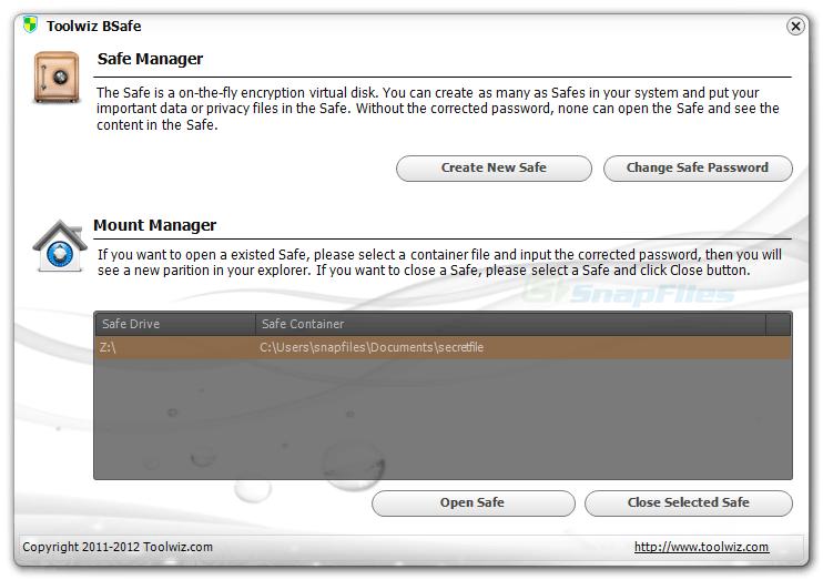 screen capture of Toolwiz BSafe