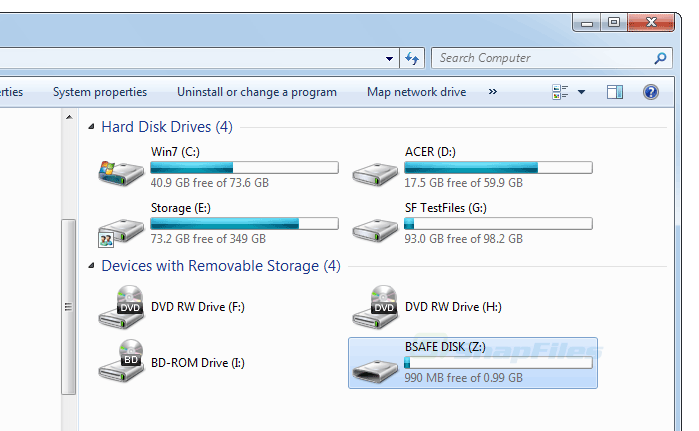screenshot of Toolwiz BSafe