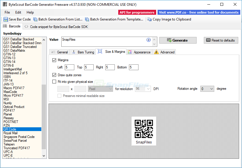 screenshot of Bytescout BarCode Generator
