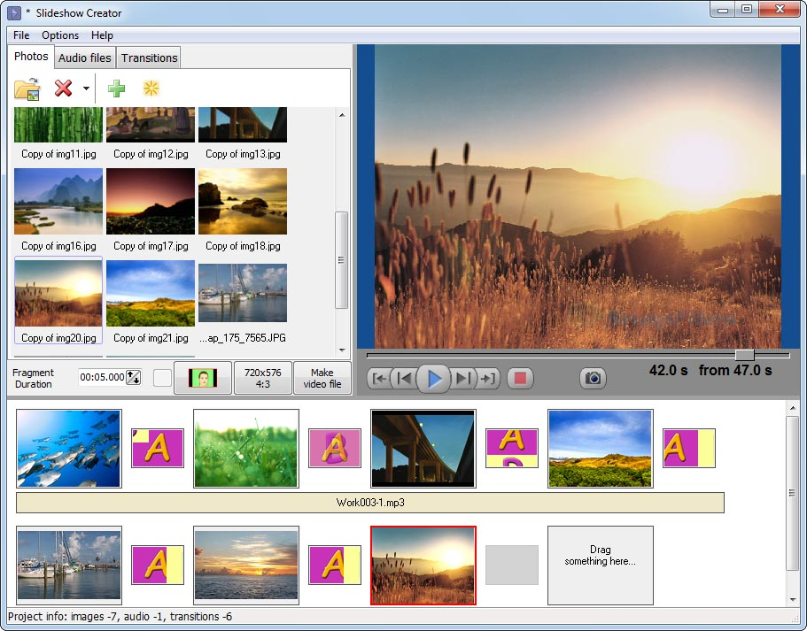screen capture of Bolide Slideshow Creator