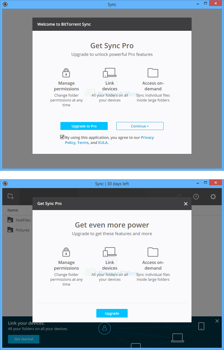 screenshot of Resilio Sync (BitTorrent Sync)