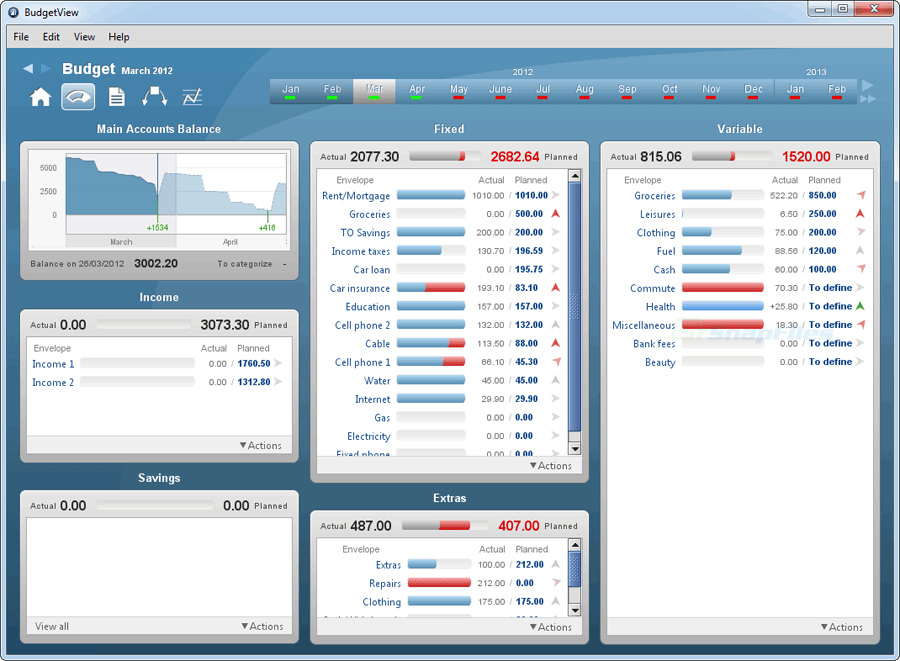 screen capture of BudgetView
