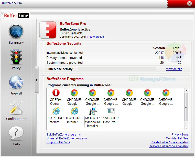screen capture of BufferZone Pro