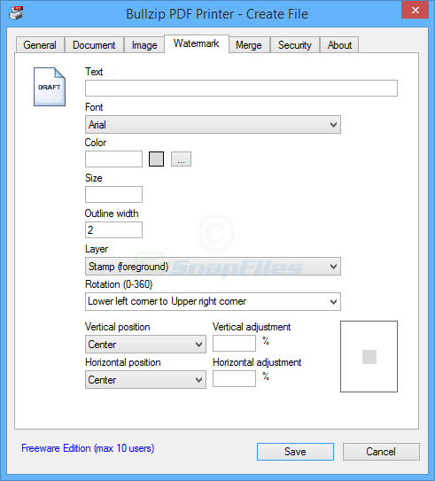 screenshot of BullZip PDF Printer