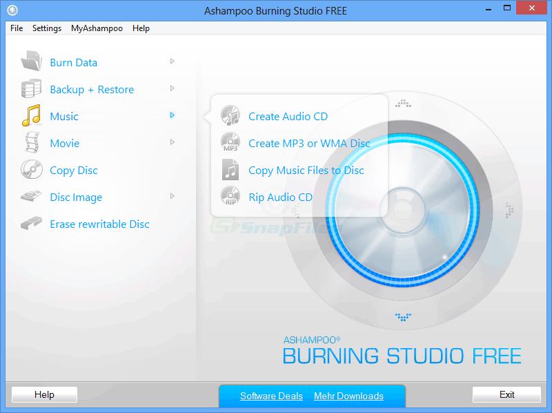 screen capture of Ashampoo Burning Studio Free