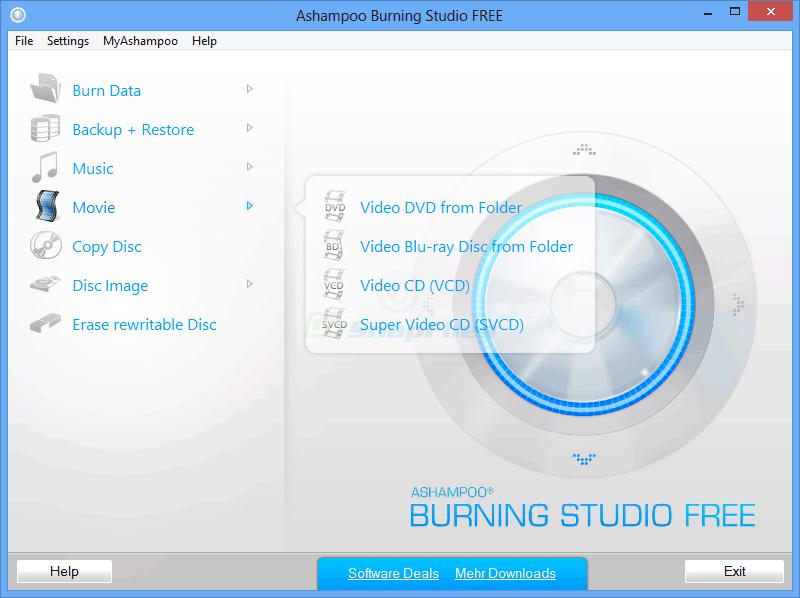 screenshot of Ashampoo Burning Studio Free