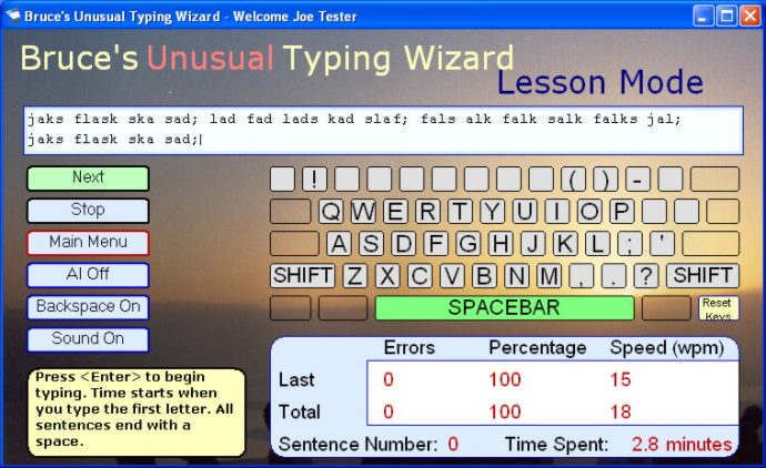 screen capture of Bruce`s Unusual Typing Wizard
