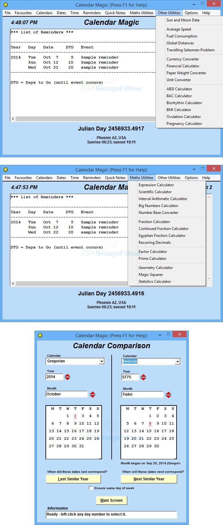 screenshot of Calendar Magic