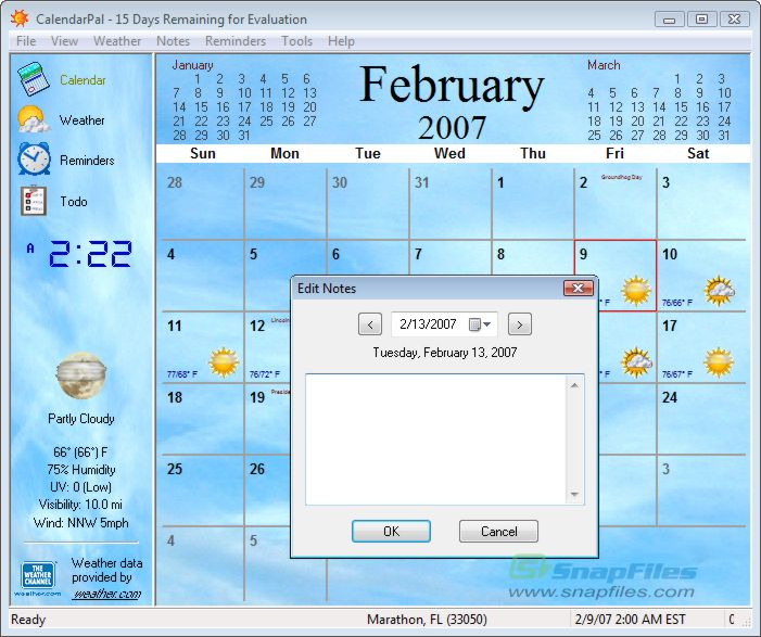 screen capture of CalendarPal