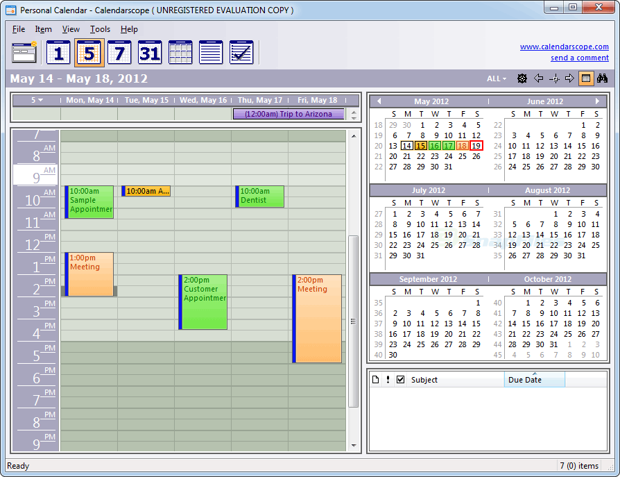 screen capture of Calendarscope