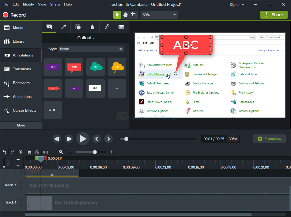 screen capture of Camtasia Studio
