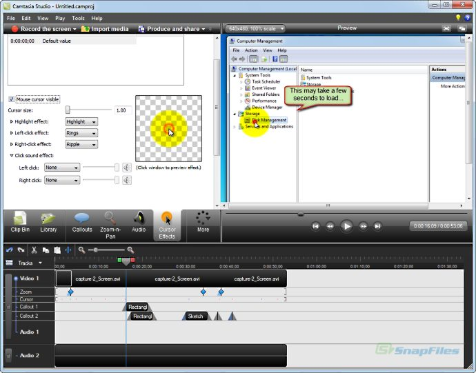 screenshot of Camtasia Studio