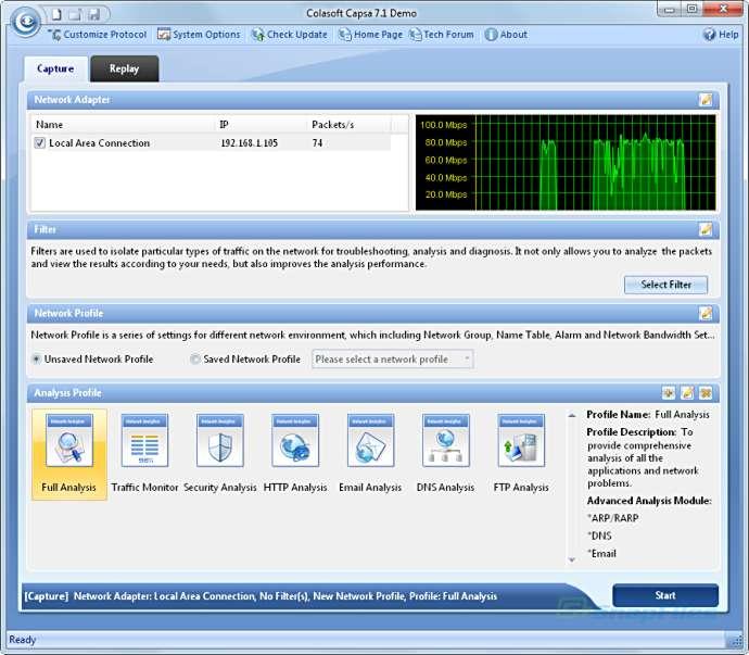 screen capture of Colasoft Capsa Network Analyzer