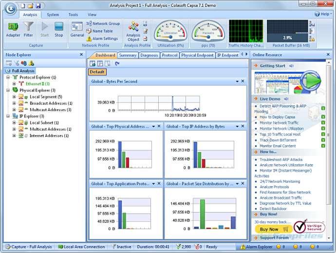 screenshot of Colasoft Capsa Network Analyzer