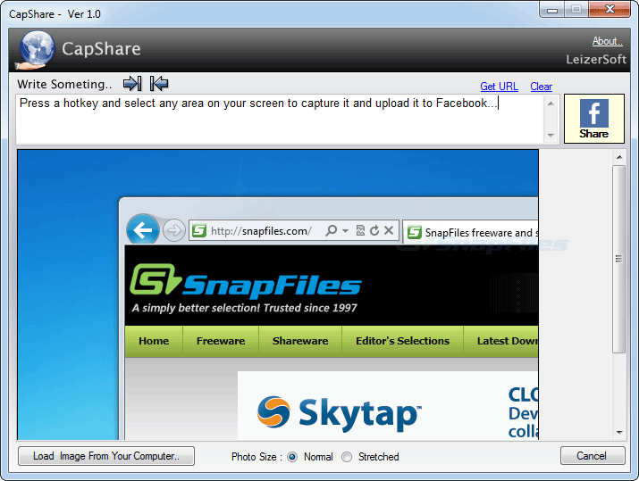 screen capture of CapShare
