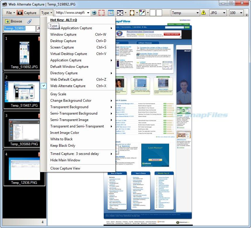 screen capture of Capture View