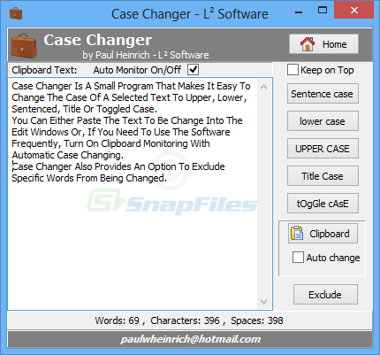 screen capture of Case Changer