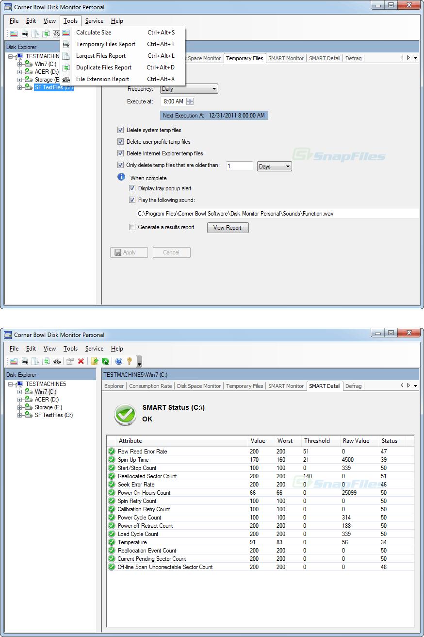 screenshot of Corner Bowl Disk Monitor Personal